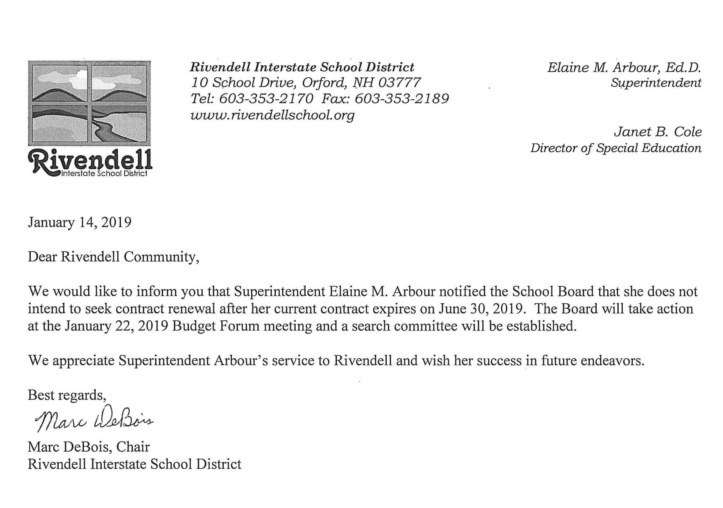 Communication from RISD Board 01 14 19