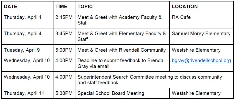 superintendent meeting dates